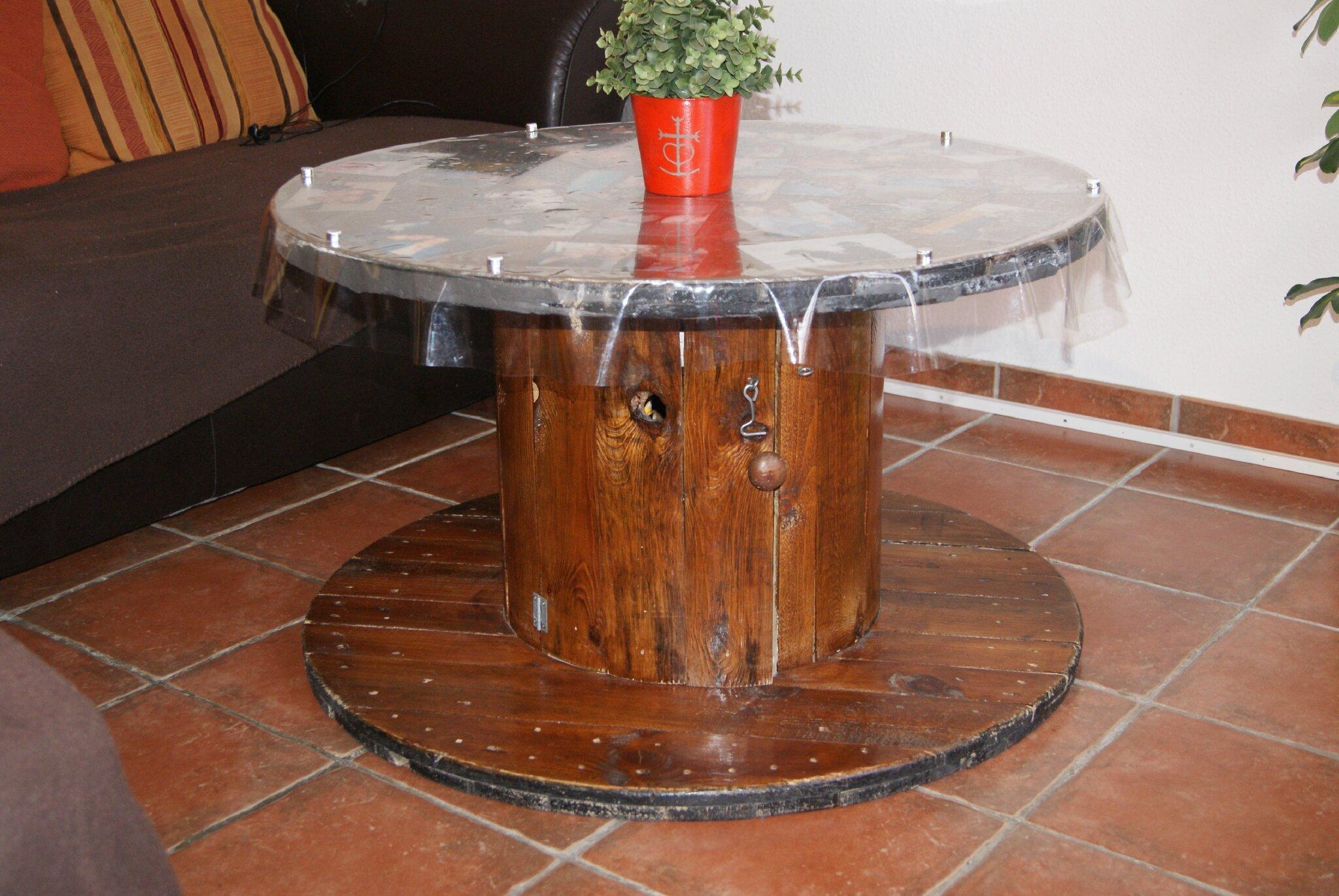 table basse touret de cable - recupération et transformation