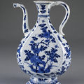 Chinese ewer with south asian metalwork shape. jingdezhen, china, qing dynasty, kangxi reign, ca. 1680-1710