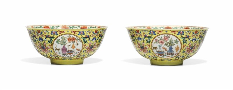 A pair of yellow-ground famille rose medallion bowls, Daoguang six-character seal marks in iron-red and of the period (1821-1850)