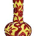 A red overlay yellow ground bottle vase, qing dynasty (1644-1911)