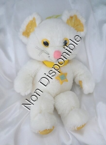 Doudou Peluche Souris Blanc Fluo Calins Magic Glow Friends APPLAUSE IDEAL 1992