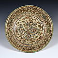 Deep Dish, Vietnam, 15th–16th century, Lê-Mac dynasty (1427–1789), Stoneware with underglaze blue and polychrome enamel, D