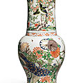 A famille-verte 'birds and flowers' yenyen vase, qing dynasty, kangxi period (1662-1722)