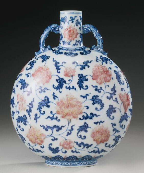 A copper-red and underglaze-blue moonflask, Qing dynasty, 18th century3