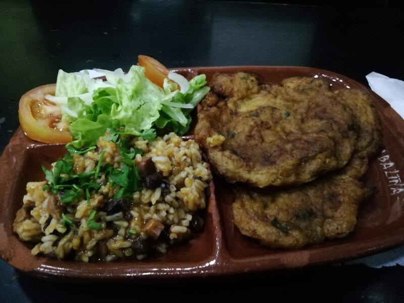riz aux haricots salade omelette pdt morue