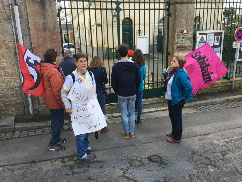 manifestation loi travail Avranches 31 mars 2016 lycéen délégation sous-préfecture