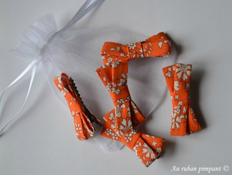 Barrettes cortège orange et blanc