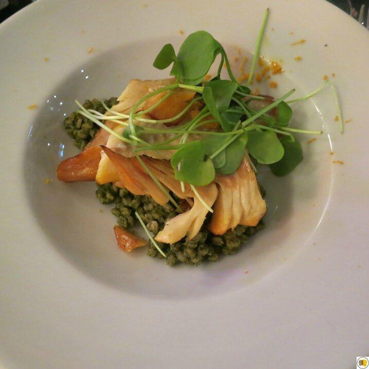 Le haddock, zeste d'orange, épeautre à la crème d'épinards (1)