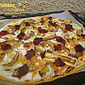 Tarte flambée au chorizo et aubergines