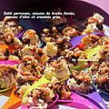 Sablé parmesan, mousse de truite fumée, terreau d'olive et crevettes grises