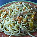 Spaghetti au bacon et petits légumes