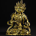 A gilt-bronze figure of vajrasattva, ming dynasty, 15th-16th century