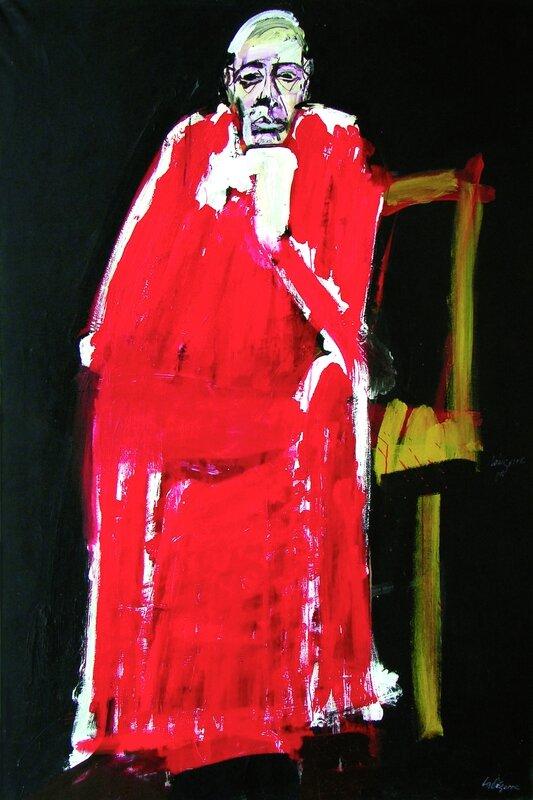 Cardinal au fauteuil jaune - 2011 serge labegorre 195x130 acrylique sur toile - Copie presse)