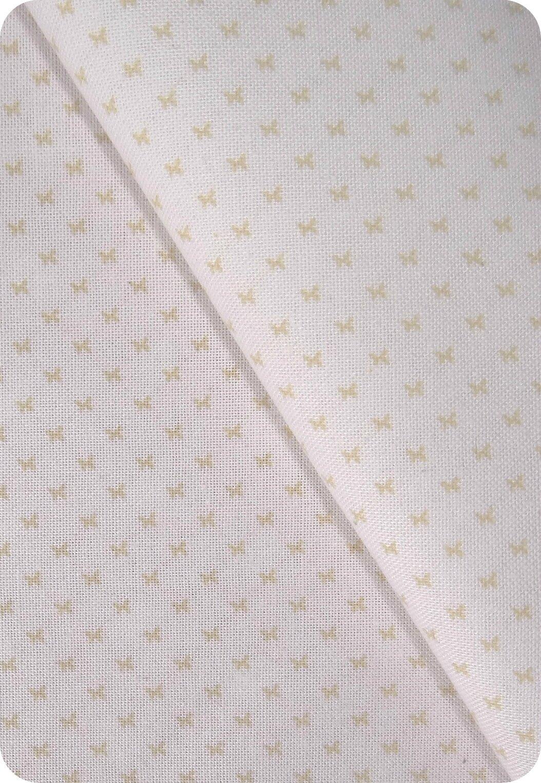 Tissu papillon beige et blanc
