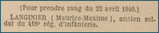 Légion d'Honneur - Maurice Langinier