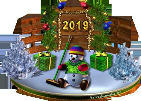 2019-bonne-année-bonhomme-neige-socle-barriere
