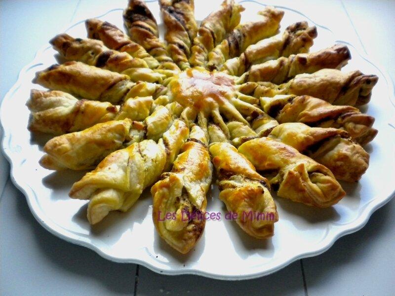 Soleil feuilleté pesto, pignons et parmesan pour l'apéro 4
