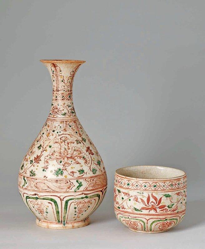 Polychrome Ty Ba Bottle, Lê Dynasty, 15th–16th c