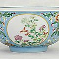 A famille rose blue-ground medallion bowl, daoguang six-character seal mark in underglaze-blue and of the period (1821-1850)