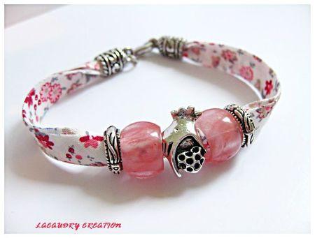 Bracelet liberty et perle en pierre rose rouge