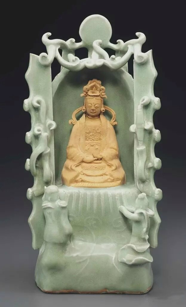 A Longquan celadon shrine of the South Sea Guanyin, Early Ming dynasty, 14th-15th century