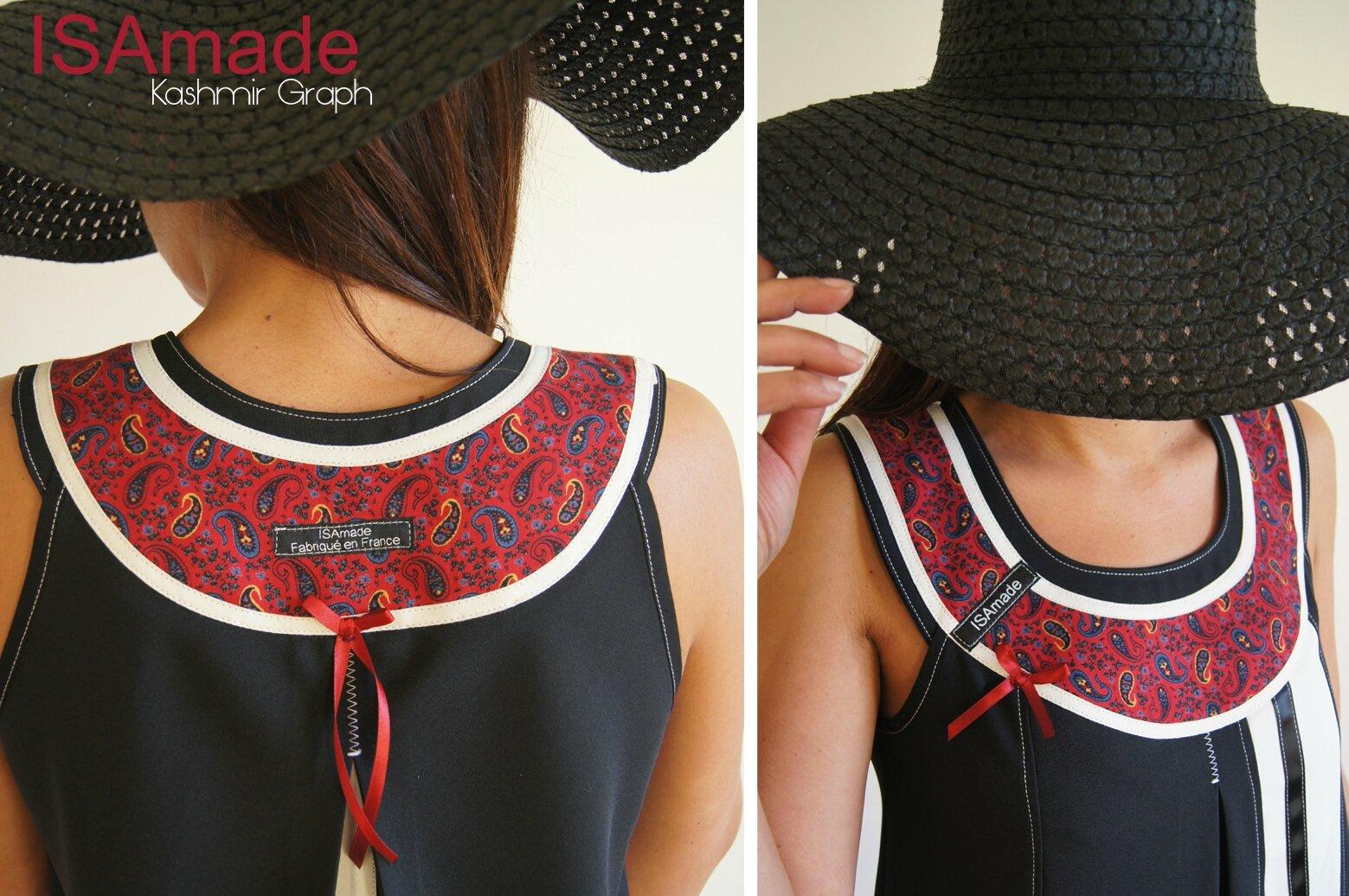 Robe trapèze Noire Chasuble Asymétrique Noire & Crème écru et imprimé cachemire Rouge Graphique