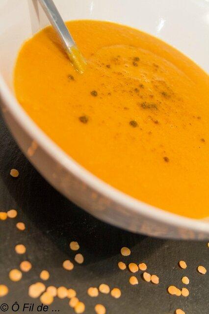 Velouté de lentilles corail lait de coco curry 3