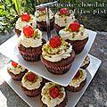 Cupcake chocolat cerises confites pistache