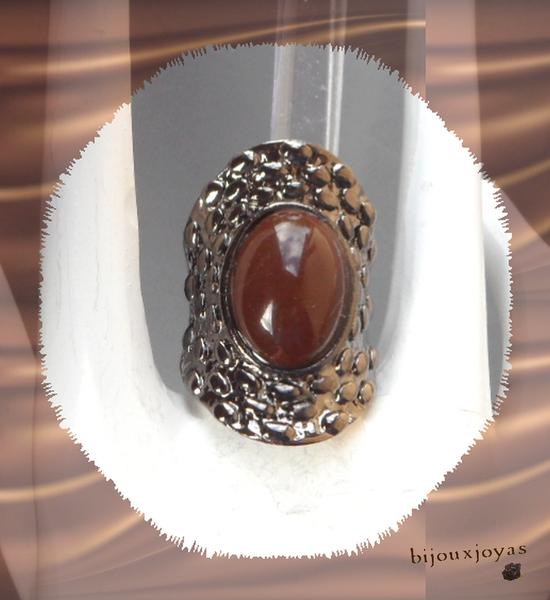 Bague Ovale Paavan Perle Marron Métal Couleur Argenté Gris Foncé T59_60