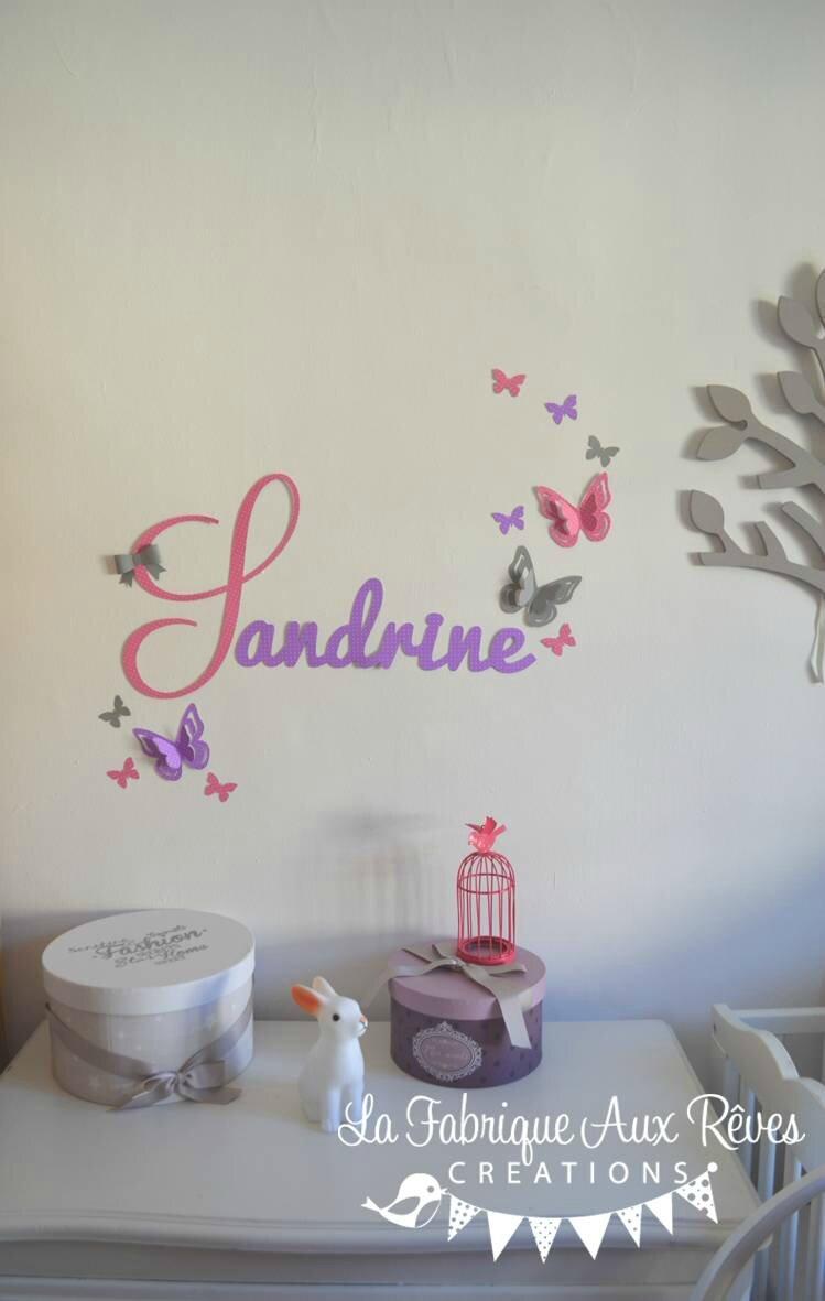 stickers prénom fille rose vif gris violet parme mauve papillons ...