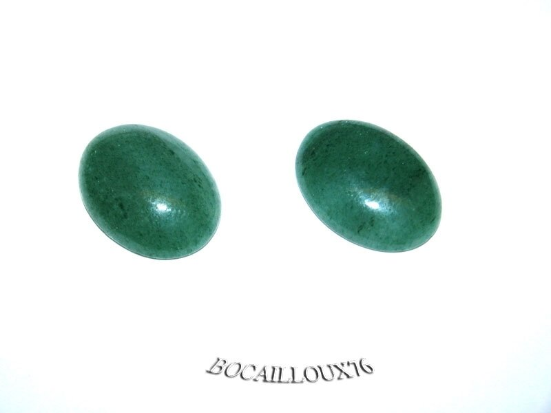 CABOCHON 15x20 AVENTURINE VERTE 6 - LOT DE 2 - POUR CREATION