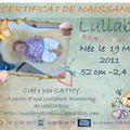 et dernière patte le certificat de naissance de lullaby , chaque certificat est créé sur mesure pour le bébé , bisous maman