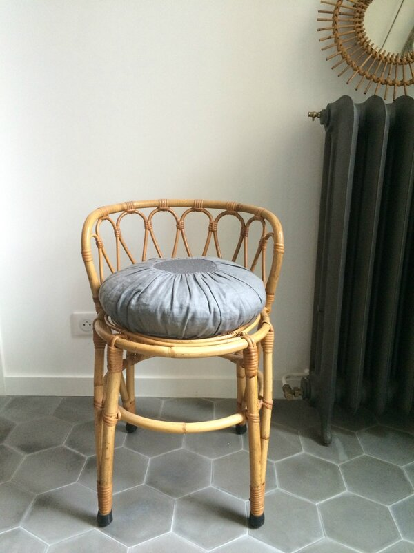 chaise coiffeuse rotin