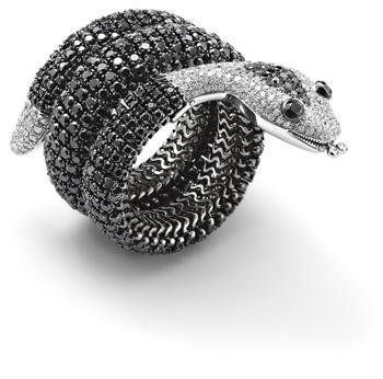A_black_diamond_and_diamond_snake_bangle