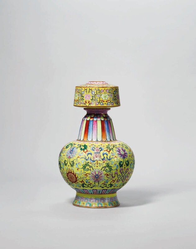 A yellow-ground famille rose tibetan-style vase, benbaping , Qianlong six-character seal mark in iron-red and of the period (1736-95)