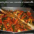 Saumon entier farci aux vermicelles chinois et crevettes