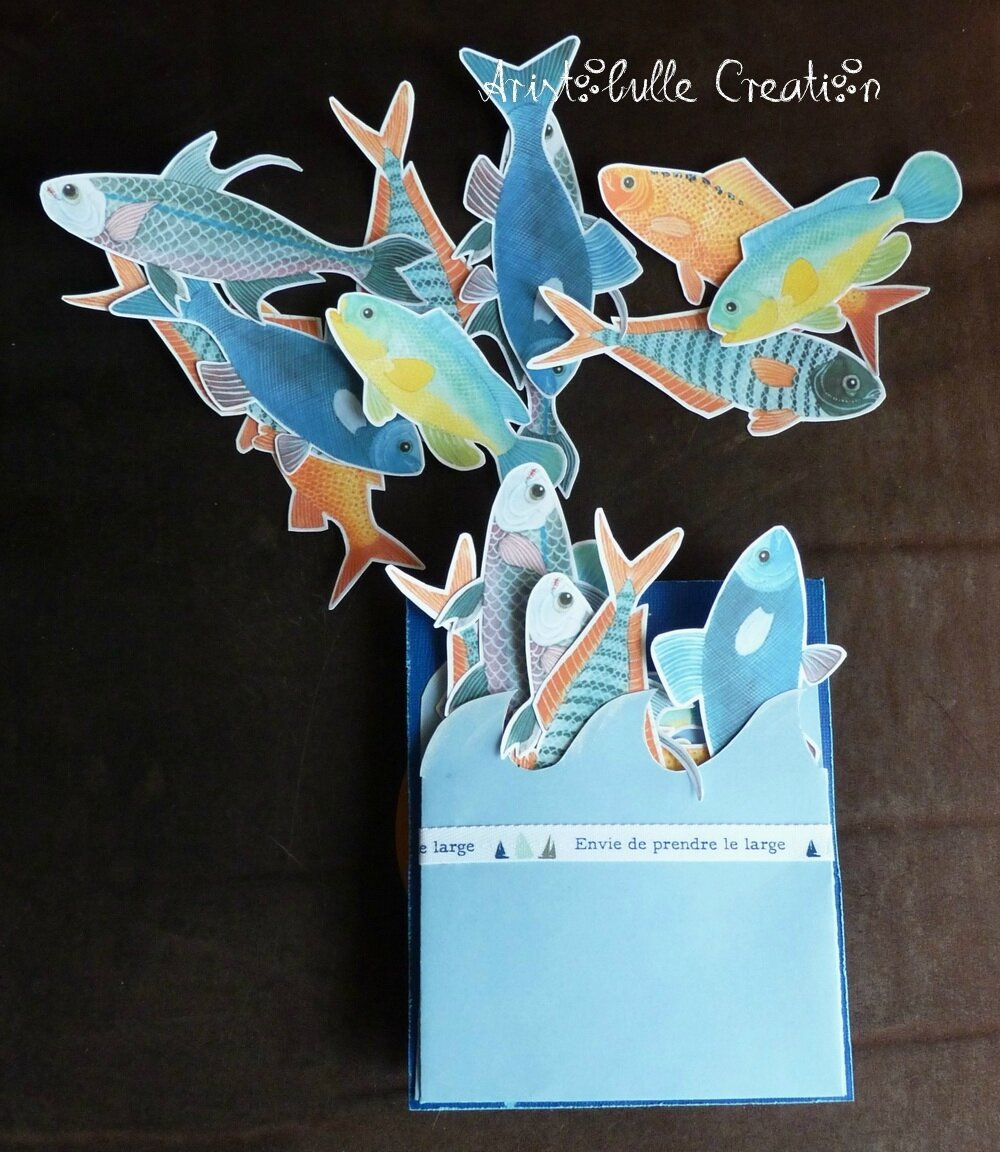 Carte twist pop up mer - poissons messages