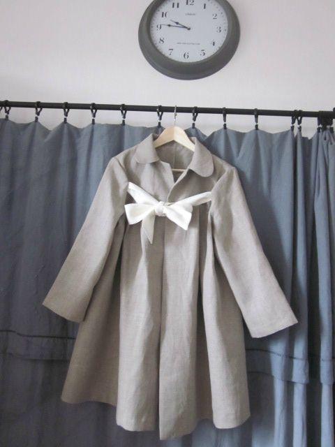 manteau d'été en lin brut noué d'un lien de lin ivoire - taille 44 (1)