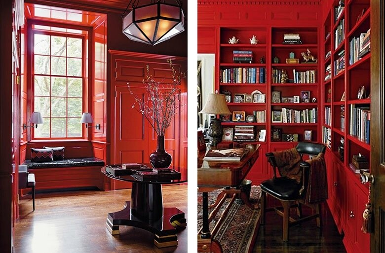 Glossy_Red_Lacquer_Painted_Library_Bookshelves