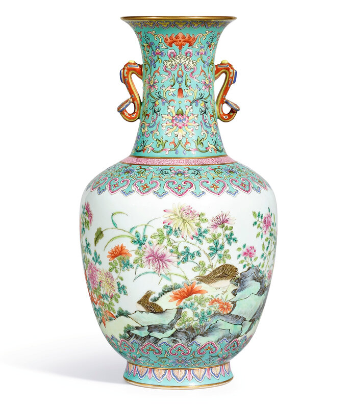 A rare and brilliantly enamelled famille-rose 'Quail' vase, Seal mark and period of Qianlong (1736-1795)