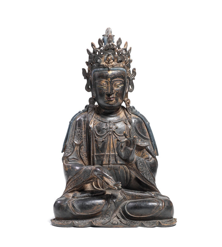 A rare and large gilt-lacquered bronze figure of Mahasthamaprapta, Ming dynasty (368-1644)
