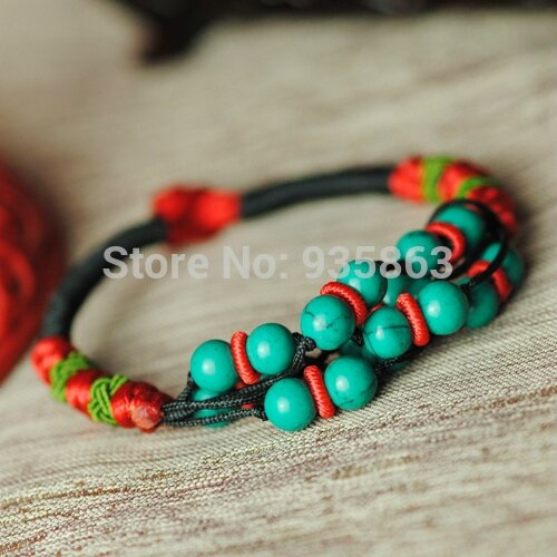 Wholesale-Woman-Bracelet-Ethnic-Wind-Vintage-Style-Manual-Weave-Pure-Stone-Propitious-best-gift-for-fashion