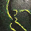 Lignes jaunes, toile de 50 x 70 cm acrylique et