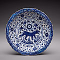 Rare works of persian blue and white ceramics from the hossein afshar collection on view together for the first time