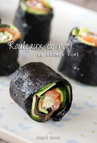 rouleaux de nori au saumon fumé - smoked salmon and nori sushi rolls