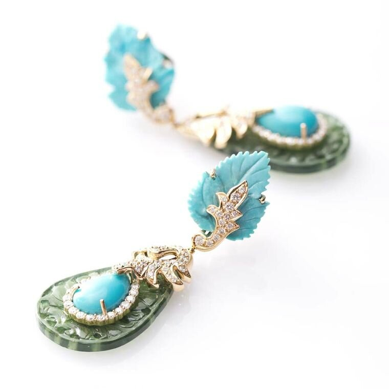 Fahra Khan_Le Jardin Exotique_Regal turquoise and serpentine carved Farah Khan earrings accented by diamonds and set in 18ct gold
