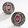 Pair of attractive spinel and diamond earclips, jar
