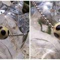 Bracelet chaine boule et perles ivoire et noire