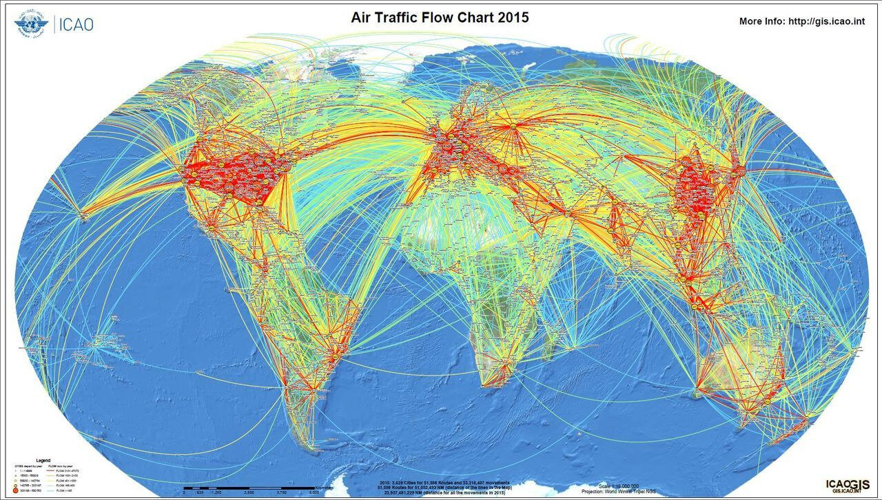 World map of airline traffic density