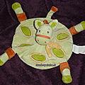 Doudou peluche cheval zèbre , plat,vert,kimbaloo la halle, www.doudoupeluche.fr